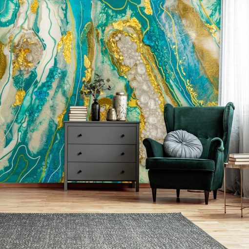 fototapeta do pokoju abstrakcja geode art turkusowa z艂ota z kamieniami