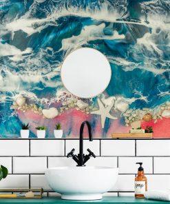 fototapeta do łazieki dekoracja z żywicy epoksydowej morze i muszle