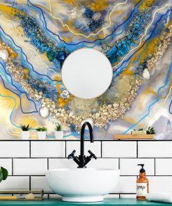 Fototapeta do łazienki sztuka żywiczna abstrakcyjna