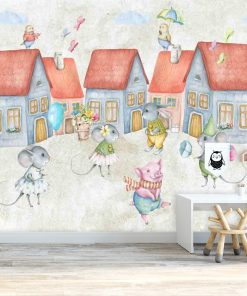 Fototapeta do pokoju dziecka z motywem domów i myszek
