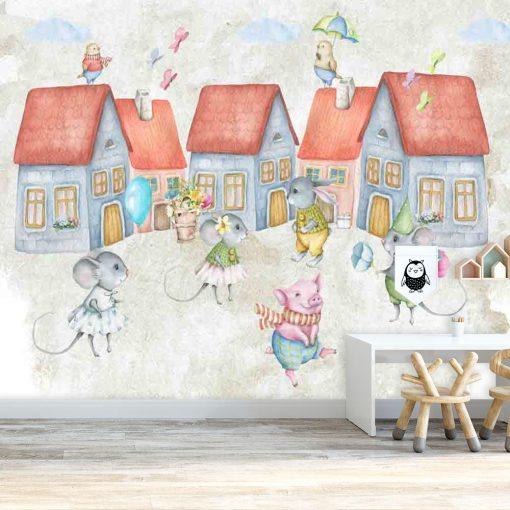Fototapeta do pokoju dziecka z motywem dom贸w i myszek