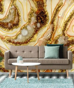 fototapeta do salonu geode art brązowo pomarańczowa abstrakcja z kamieniami