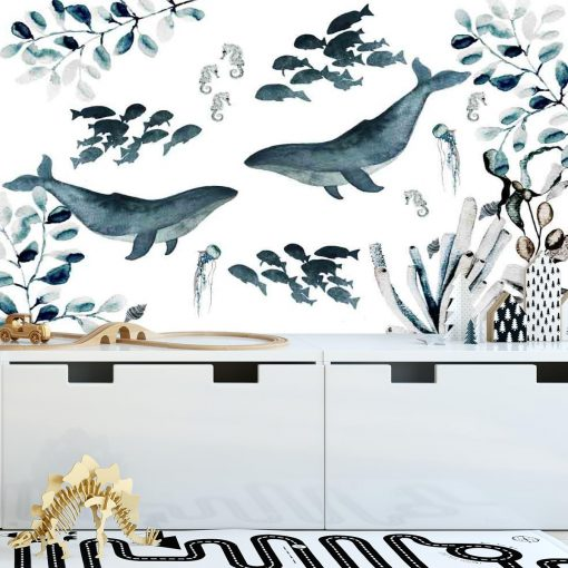 Fototapeta wieloryby na 艣cian臋 pokoju dziecka
