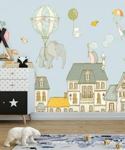 Fototapeta do pokoju dziecka z motywem latającego słonia