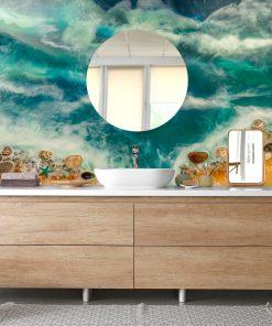 dekoracja do łazienki fototapeta resin sea niebieska złota kamienie