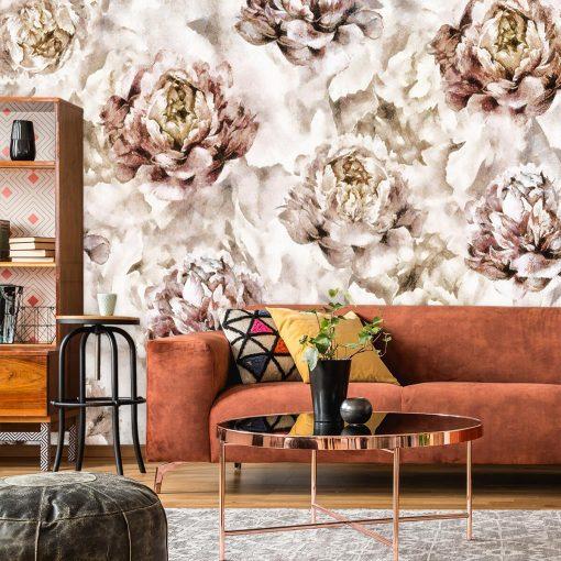Botaniczna tapeta w piwonie do salonu