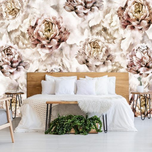 Botaniczna tapeta w piwonie do sypialni