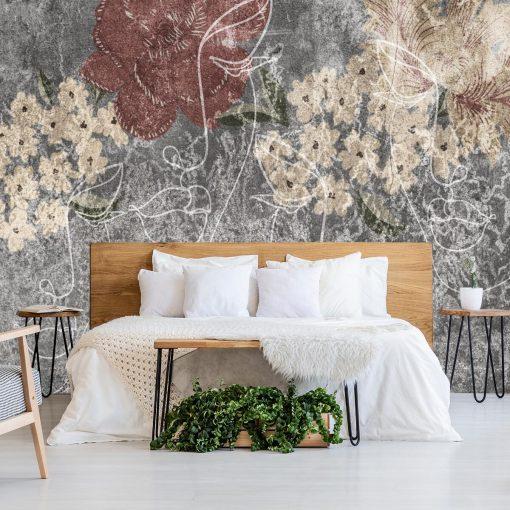 Tapeta do sypialni - Rustykalny line art