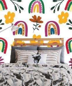 Kolorowa fototapeta z t臋czami do sypialni