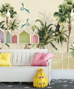 zielone palmy na foto-tapecie dla chłopców
