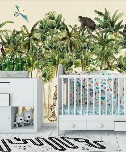 zielona tapeta dla dzieci ze słoniem