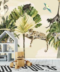 barwna fototapeta dla dzieci przedstawiająca zwierzęta z dżungli