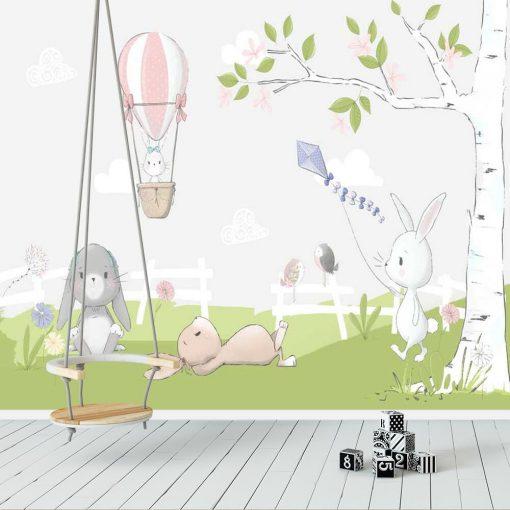 fototapeta dzieci臋ca - kr贸lik w balonie