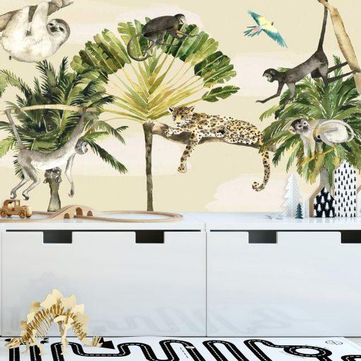 dzikie zwierzęta na kolorowej tapecie do pokoju dziecka