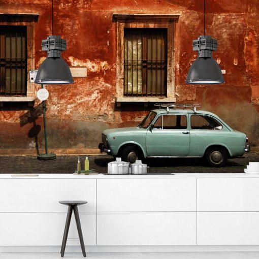 Pomara艅czowa tapeta z mi臋towym samochodem