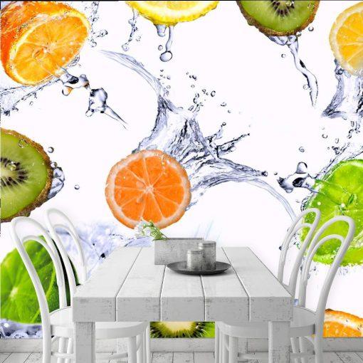 Fototapeta z kolorowymi owocami