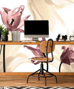 Żółte i różowe tulipany - tapeta