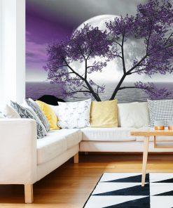 Tapeta z fioletowym drzewem