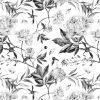 Czarno-bia艂a tapeta z motywem florystycznym