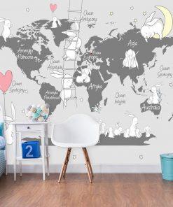 Fototapeta króliczki na mapie świata
