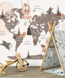 Foto-tapeta z map膮 艣wiata do 偶艂obka