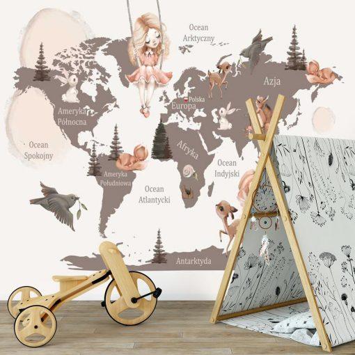 Foto-tapeta z mapą świata do żłobka