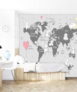 Mapa z króliczkami na tapecie