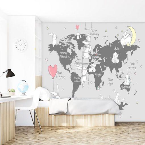 Mapa z kr贸liczkami na tapecie