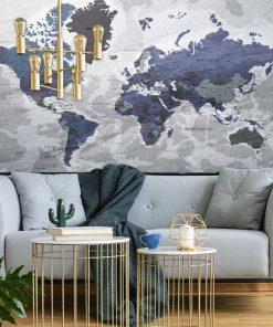 Szaro-granatowa tapeta z mapą świata
