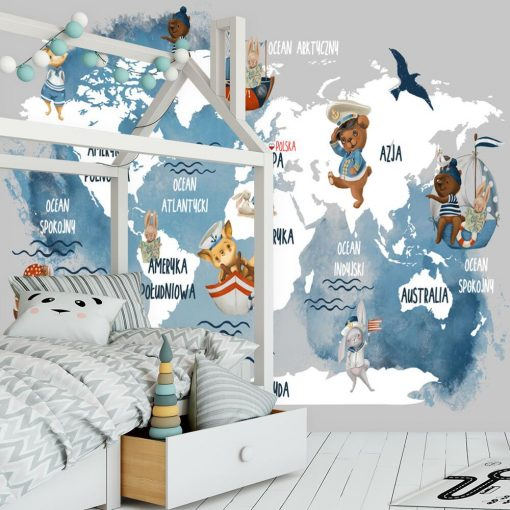 Foto-tapeta mapa 艣wiata i oceany
