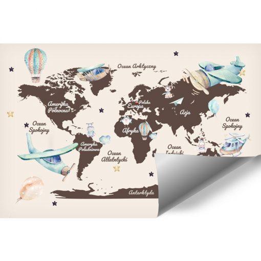 Tapeta dla dzieci z map膮 艣wiata