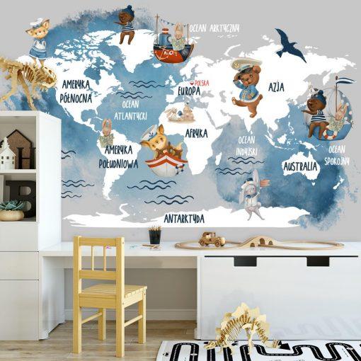 Niebieska tapeta dla dzieci z map膮