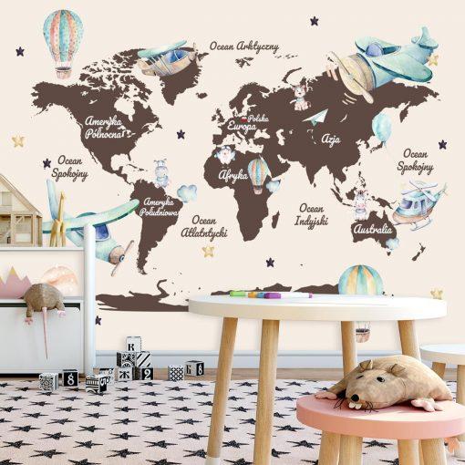 Dzieci臋ca tapeta z map膮 艣wiata i samolotami
