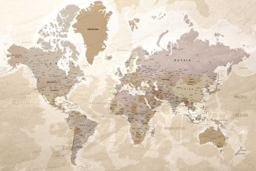 Foto-tapeta mapa z pa艅stwami i miastami