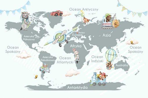 Szara fototapeta z map膮 艣wiata i zwierz膮tkami dla dzieci