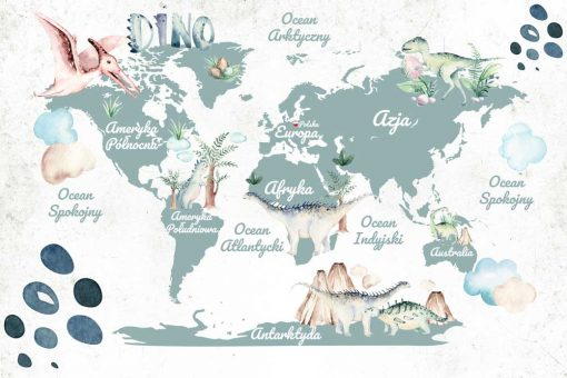 Tapeta dla dziecka z map膮 艣wiata i dinozaurami - z艂obek
