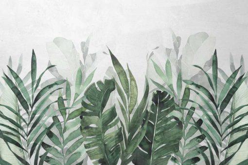 Botaniczna tapeta - szaro艣ci i ziele艅