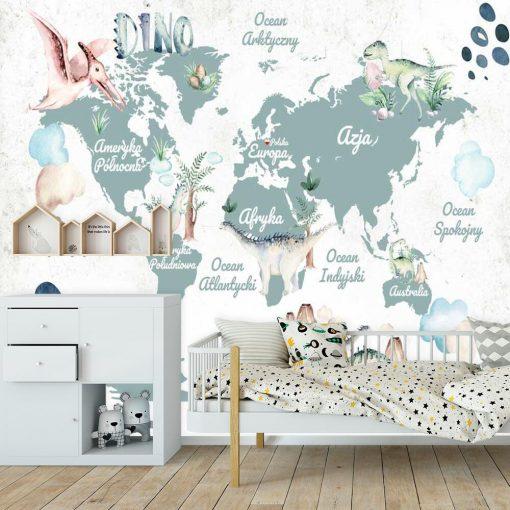 Tapeta dla dziecka z map膮 geograficzn膮