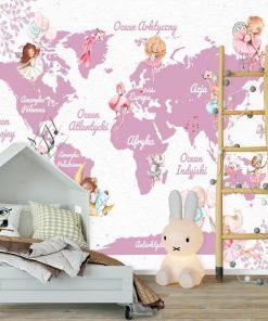 Fantazyjna tapeta z mapą i zwierzątkami