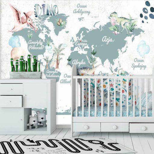 Tapeta dla dziecka z dinozaurami i map膮 艣wiata do 偶艂obka