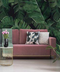 Zielona tapeta z motywem liści