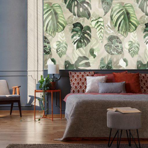 Fototapeta z zielonymi li艣膰mi do sypialni