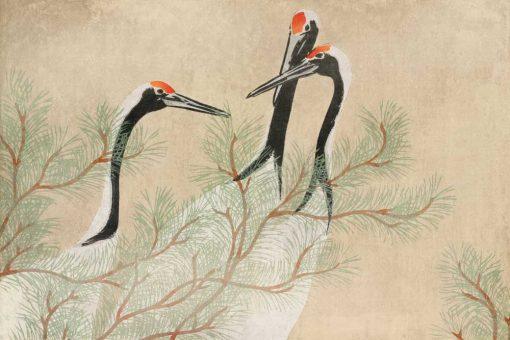Kamisaka Sekka - tapeta z reprodukcj膮 呕urawi