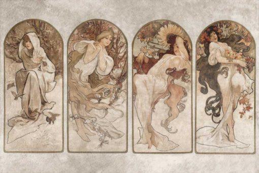 Tapeta z reprodukcj膮 Czterech P贸r Roku Alfonsa Muchy