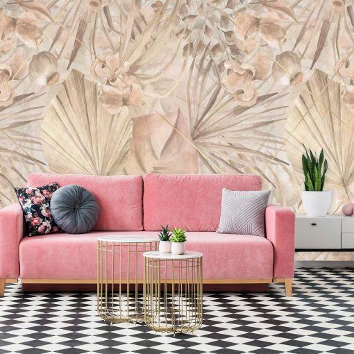 Artystyczna fototapeta - Palmowe liście do salonu