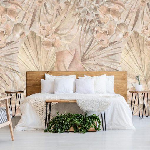 Artystyczna fototapeta - Palmowe liście do sypialni