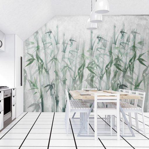 Artystyczna fototapeta w bambusy do kuchni