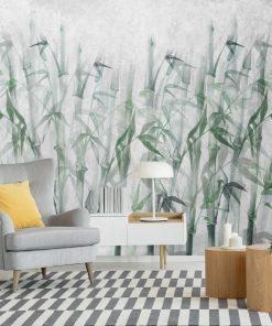 Artystyczna fototapeta w bambusy do pokoju