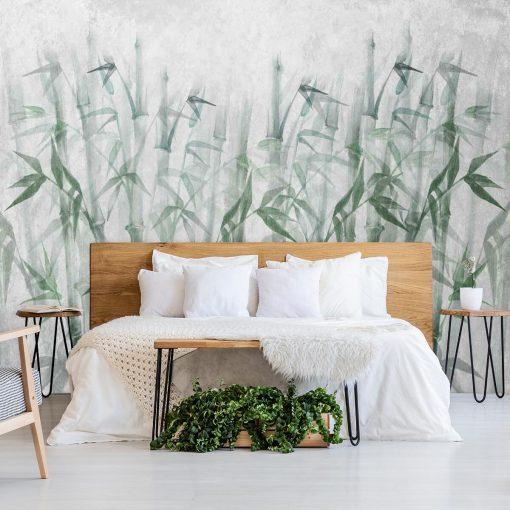 Artystyczna fototapeta w bambusy do sypialni