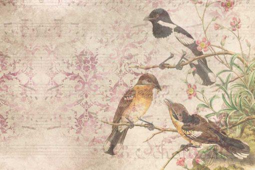 Artystyczna fototapeta z ptakami do jadalni